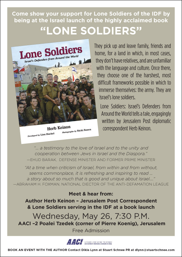 """Book launching of """"Lone Soldiers,"""" AACI Jerusalem, Monday, May 26th, 2010"""